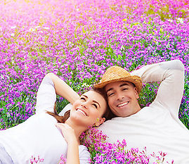 Home. Couple in pink/purple flowers
